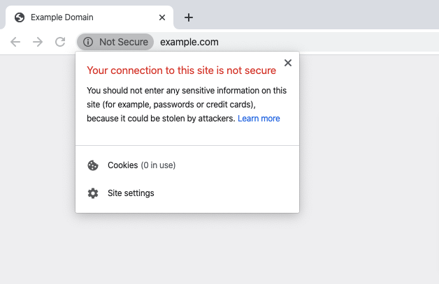 """I'm getting the warning, """"Your connection is not private"""""""