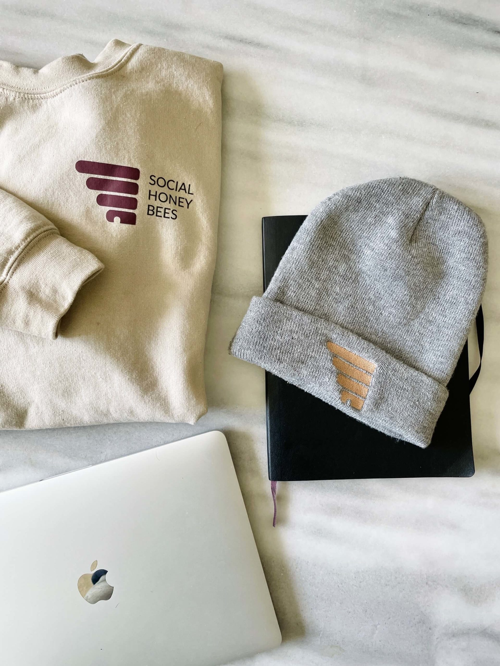 Social Honey Bees sweater toque and macbook pro